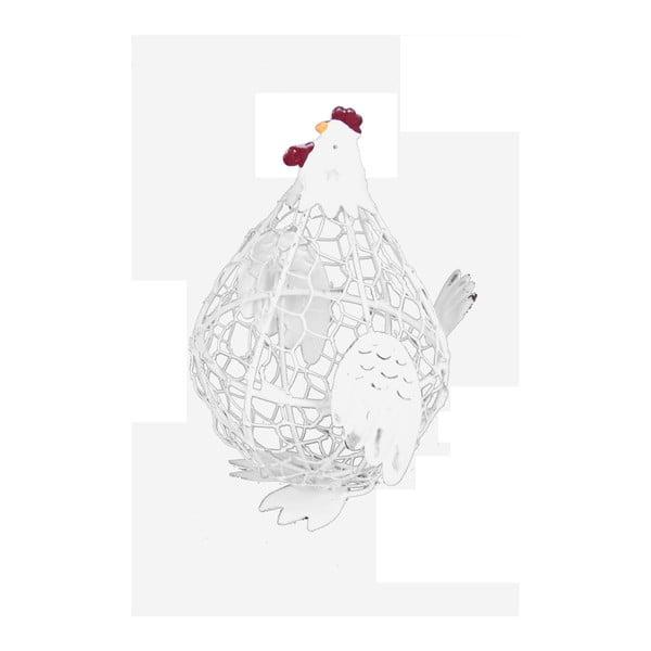 Biały koszyk metalowy w kształcie kury Ego Dekor, 10x13,5 cm