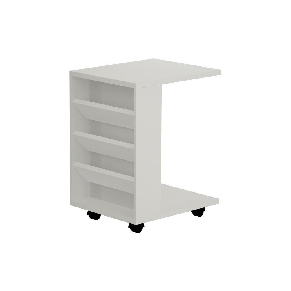 Biały podręczny stolik na kółkach Section White