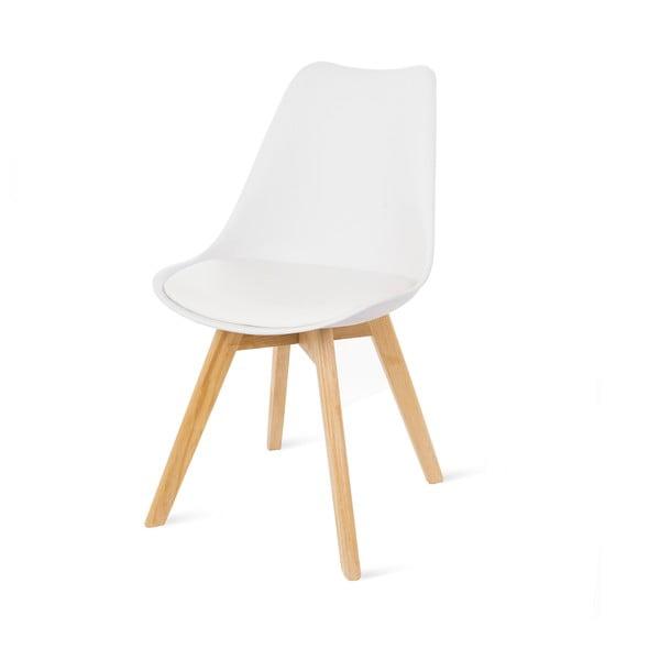 Białe krzesło z bukowymi nogami loomi.design Retro