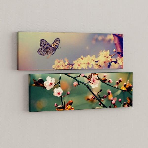 Zestaw 2 obrazów Motyk i kwiaty