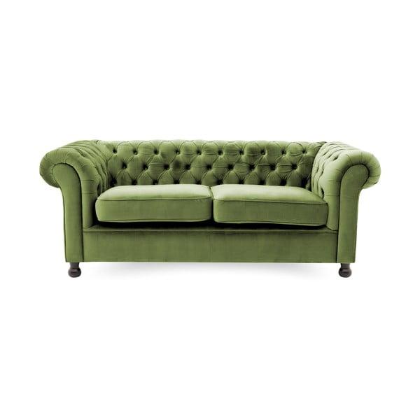 Zielona sofa 3-osobowa Vivonita Chesterfield