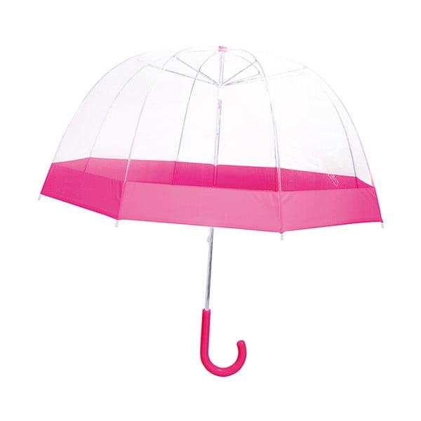 Przezroczysty parasol dziecięcy z różowymi detalami