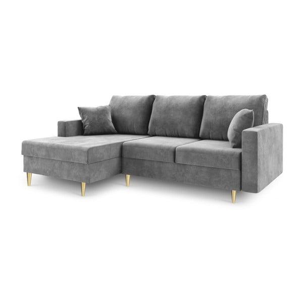 Jasnoszara 4-osobowa sofa rozkładana Mazzini Sofas Muguet, lewostronna