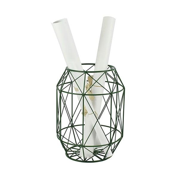 Zielony stolik/stojak z drewnianym blatem HF Living Dome