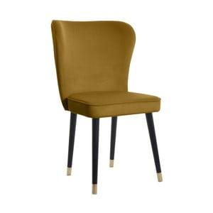 Musztardowe krzesło z detalami w złotym kolorze JohnsonStyle Odette French Velvet