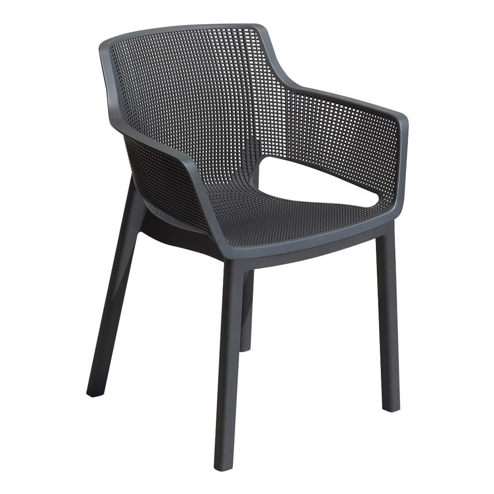 Szare metaliczne krzesło ogrodowe Keter Elisa