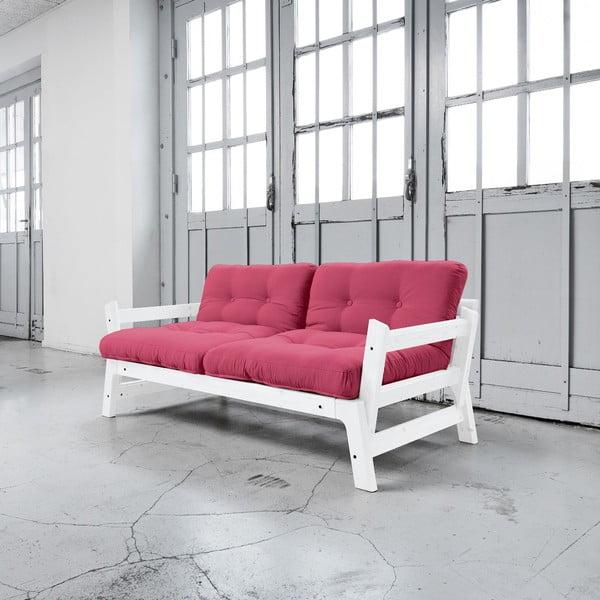 Sofa rozkładana Karup Step White/Magenta