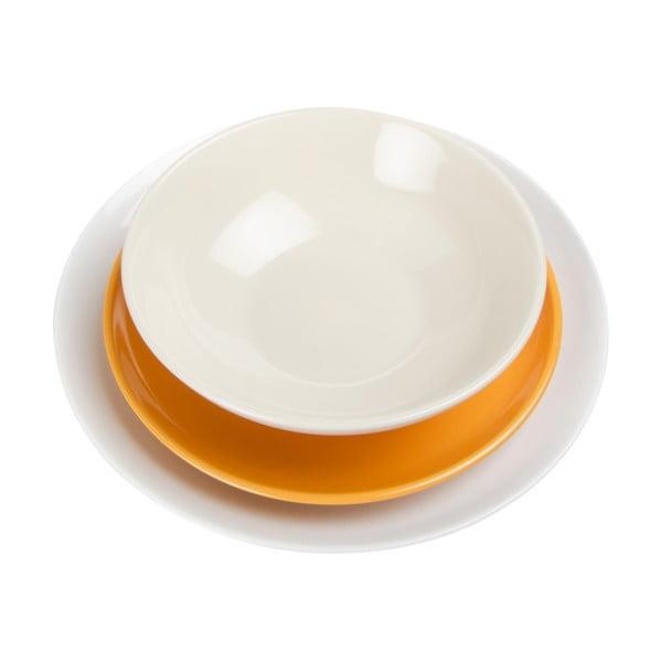 Biało-pomarańczowy komplet talerzy Kaleidos Levisia, 18 szt.