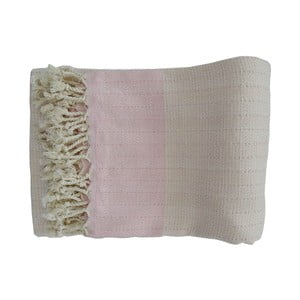 Różowo-biały ręcznie tkany ręcznik z bawełny premium Nefes,100x180 cm