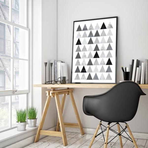 Plakat w drewnianej ramie Grey triangles, 38x28 cm