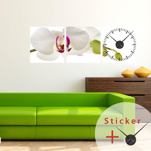 Samoprzylepny zegar Orchid, 40x120 cm