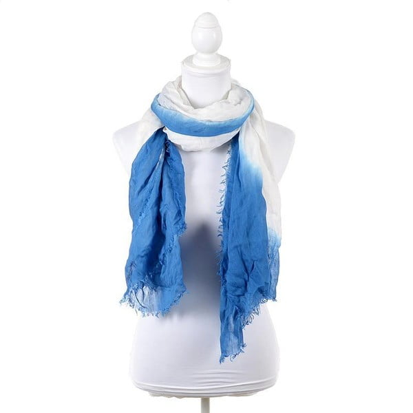 Chusta/pareo BLE Inart 100x180 cm, biało-niebieska