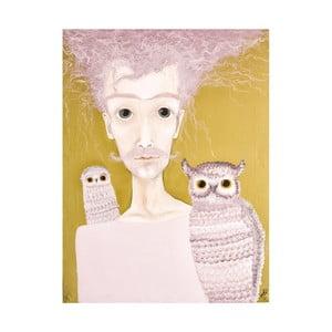 Plakat autorski: Léna Brauner Pan z sowami, 47x60 cm
