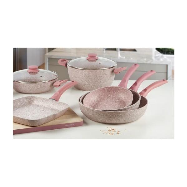 6-częściowy zestaw garnków i patelni Stonerose z różową rączką