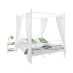 Białe łóżko metalowe Støraa Tanja Canopy, 140x200cm