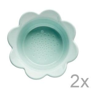 Zestaw 2 turkusowych misek porcelanowych Sagaform Piccadilly Kwiatki, 13x6,5 cm