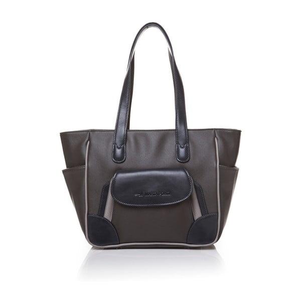 Skórzana torebka przez ramię Marta Ponti Pocket Deux, szara/beżowa