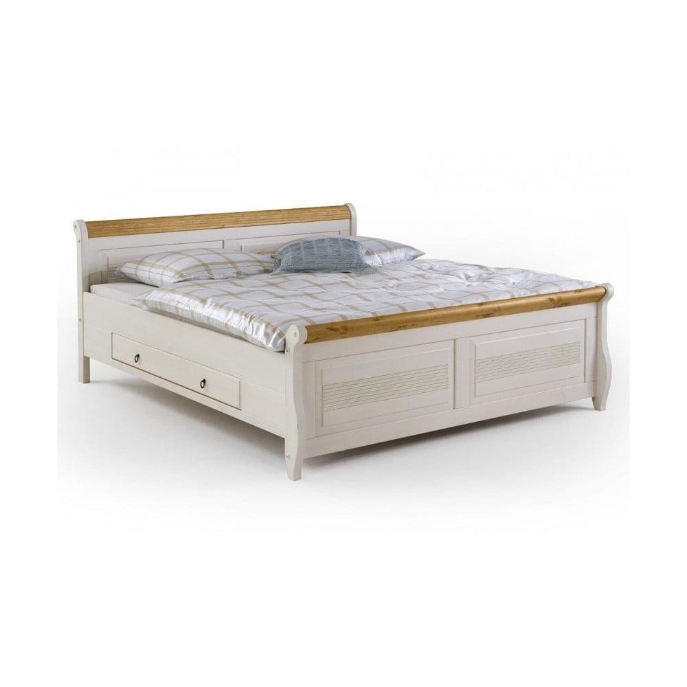 Białe łóżko Sosnowe Z Szufladami Sob Harald 180 X 200 Cm Bonami