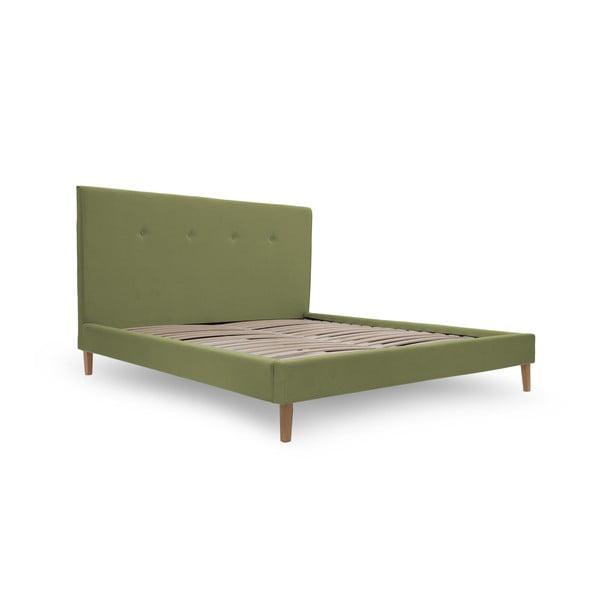 Zielone łóżko z naturalnymi nóżkami Vivonita Kent, 180x200 cm