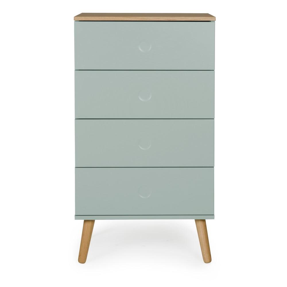 Zielona szafka z detalami w dekorze drewna dębowego Tenzo Dot, szer. 55 cm