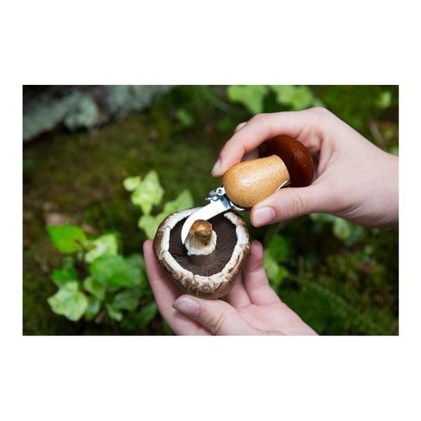 Zestaw nożyka i szczoteczki do grzybów w formie breloczka Kikkerland Mushroom