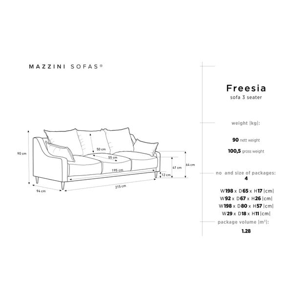 Ciemnoniebieska 3-osobowa sofa rozkładana z miejscem do przechowywania Mazzini Sofas Freesia