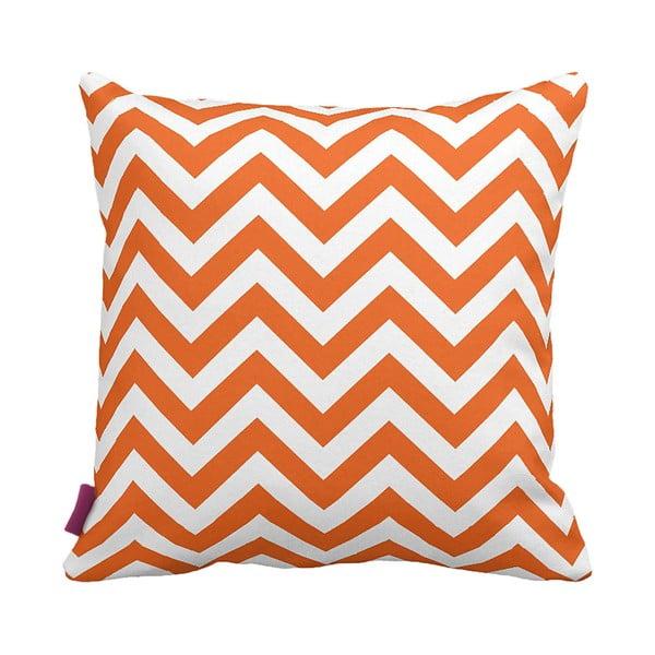 Pomarańczowo-biała   poduszka Zig Zag, 43x43cm
