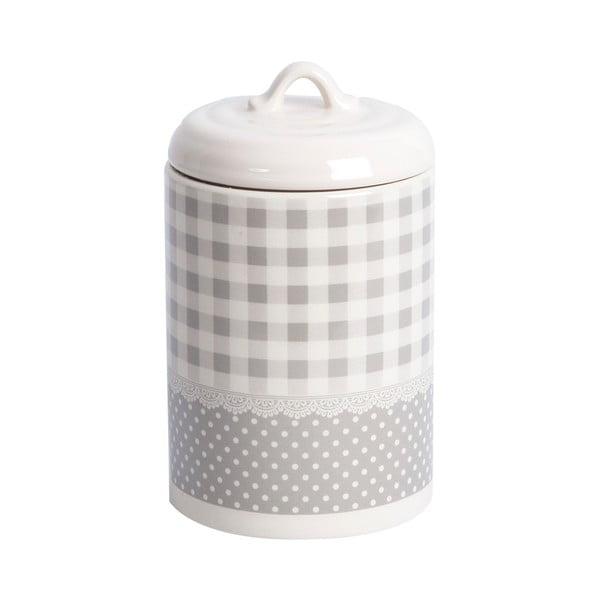 Pojemnik ceramiczny Grey Dots&Checks, 17 cm