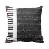 Czarno-biała poduszka Piano, 43x43 cm