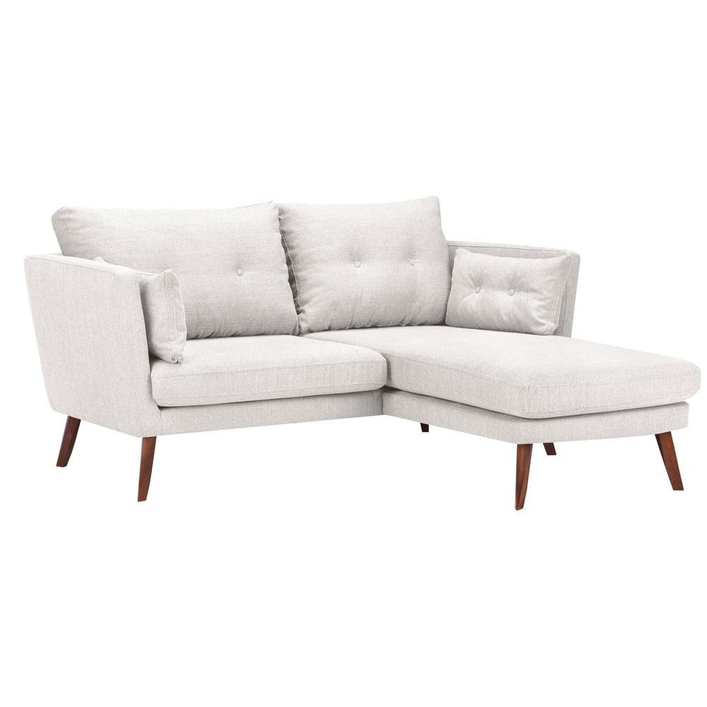Jasnobeżowa sofa 3-osobowa Mazzini Sofas Elena, z szezlongiem po prawej stronie
