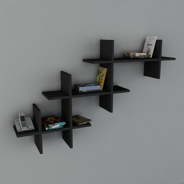 Półka Valentino Book Black, 22x140x84 cm