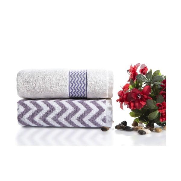 Komplet 2 fioletowo-białych ręczników bawełnianych Ladik Ella, 50x90 cm