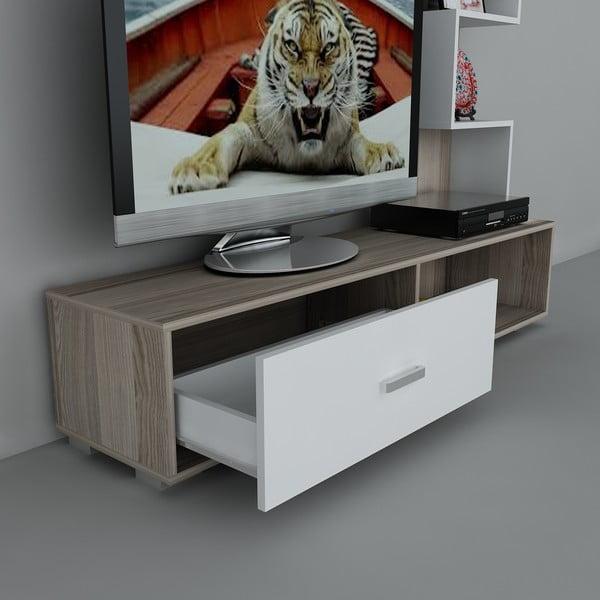 Stolik telewizyjny z regałem Akay Cordoba/White, 39x160x160 cm