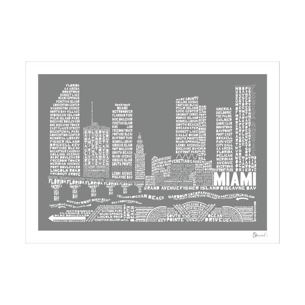 Plakat Miami Grey&White, 50x70 cm