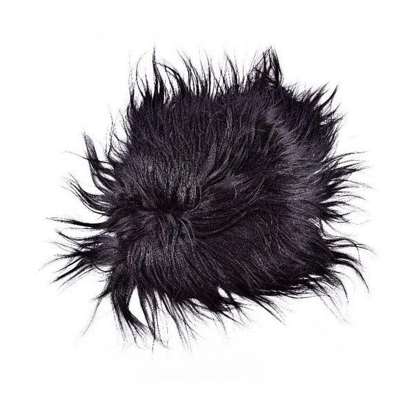 Ciemna futrzana poduszka do siedzenia z długim włosiem Eglé, 37x37cm
