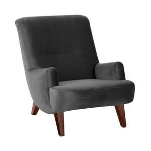Antracytowy fotel z brązowymi nogami Max Winzer Brandford Suede