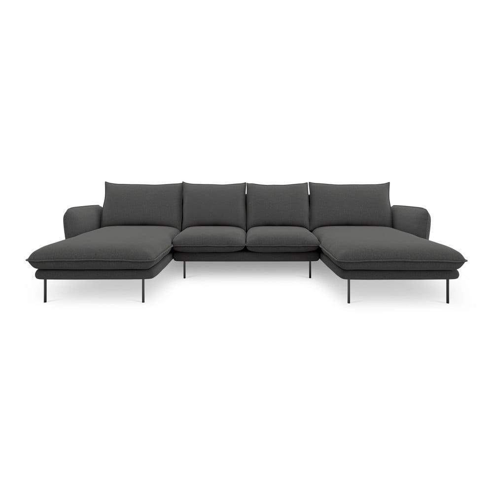 Ciemnoszara sofa w kształcie litery U Cosmopolitan Design Vienna