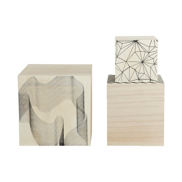 Komplet 3 pudełek drewnianych Graphic