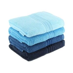 Zestaw 4 niebieskich ręczników kąpielowych Rainbow Sky, 70x140 cm