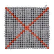 Dywan modułowy Wool Mat Grey/Coral, 40x40 cm