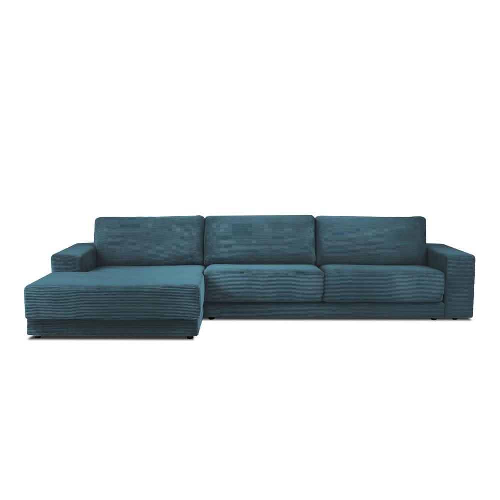 Niebieska sztruksowa XXL 5-osobowa sofa rozkładana Milo Casa Donatella, lewy róg