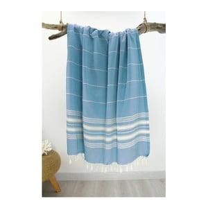 Turkusowy ręcznik bawełniany Hammam Yenge Style, 90x180 cm