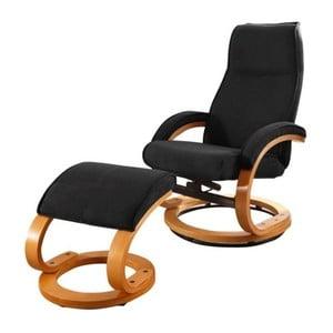 Czarny fotel regulowanyy z podnóżkiem Støraa Rika