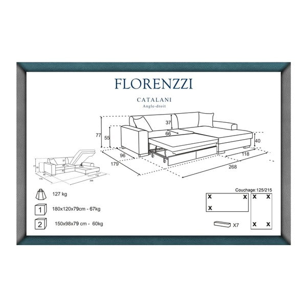 Narożnik rozkładany prawostronny Florenzzi Catalani Turquoise/Cream