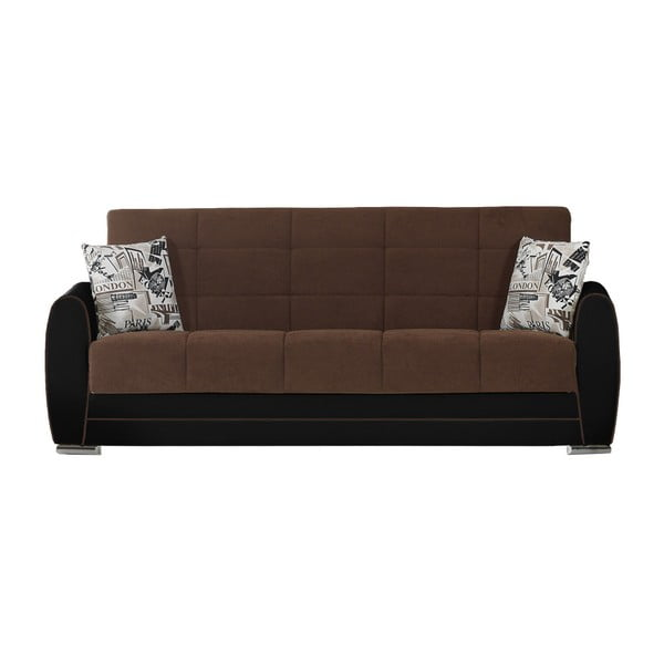 Czekoladowo-czarna trzyosobowa sofa rozkładana ze schowkiem Esidra Rest