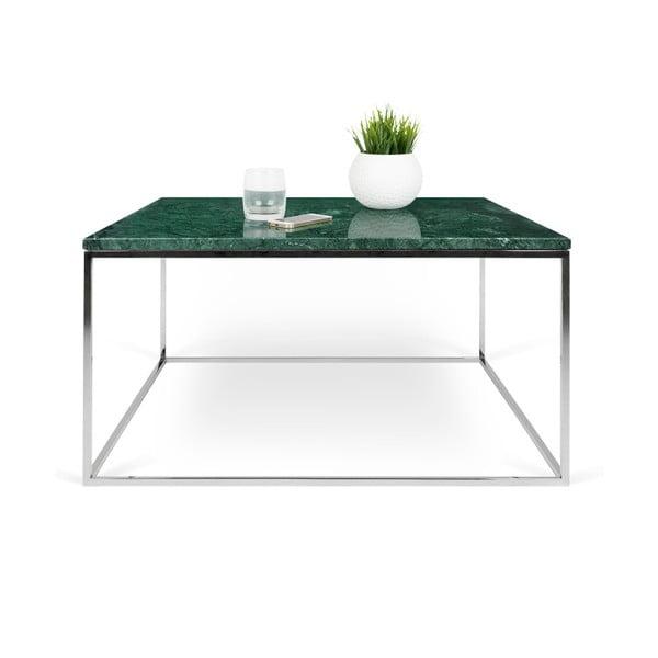 Zielony stolik marmurowy z chromowanymi nogami TemaHome Gleam, 75 cm
