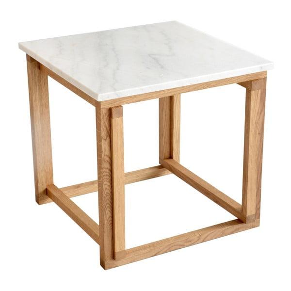Biały stolik marmurowy z dębową konstrukcją RGE Accent, szer.50cm