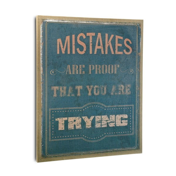 Drewniany obraz Mistakes Blue
