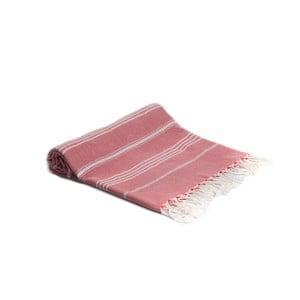 Czerwony ręcznik kąpielowy tkany ręcznie Ivy's Berna, 95x180cm