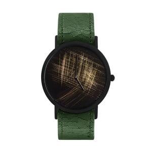 Zegarek unisex z zielonym paskiem South Lane Stockholm Avant Gold Scratch